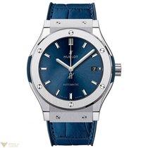 Hublot Classic Fusion Blue Titanium Leather Quartz Men's...