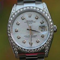 Rolex Watch Womens Mens 34mm Stainless Steel Date - Diamond...