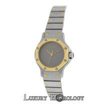 Cartier Mint Ladies  Santos Octagon 18K Gold Steel 24MM Grey Dial