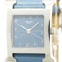 Hermès Polished Hermes H Watch Steel Leather Quartz Ladies...