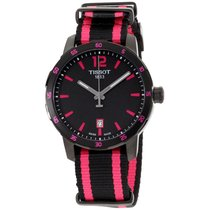 Tissot Quickster Black Dial Black And Hot Pink Nylon Mens...