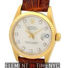 Rolex Datejust 18k Yellow Gold Factory Silver Diamond Dial...