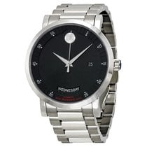 Movado Red Label Automatic Black Dial Stainless Steel Men'...