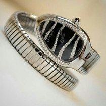 Bulgari BVLGARI Serpenti Tubogas Black Dial Steel Diamond Watch
