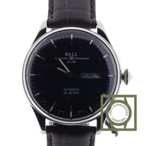 Ball Trainmaster Eternity 39.5 mm Black Dial Crocodile Strap NEW