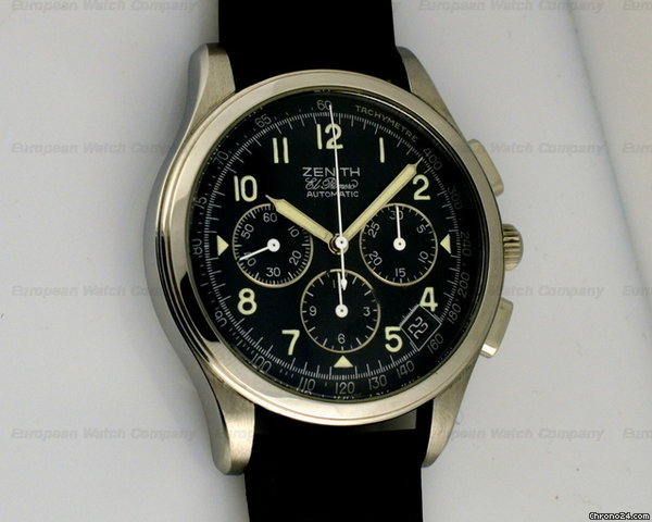 Zenith El Primero Automatic Chronoograph Black Dial SS/Strap