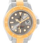 Rolex Yachtmaster Steel 18k Yellow Gold Gray Dial Mens Watch...