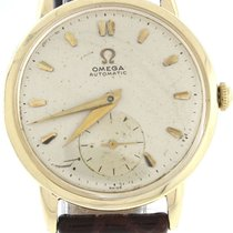 Omega Gold-Filled Silver Stick Dial Brown Lizard Leather...
