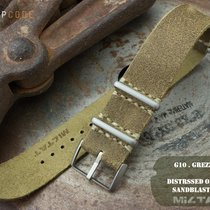 MiLTAT 20mm G10 Grezzo Leather Watch Strap, Olive BL