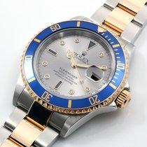 Rolex 18K/SS Submariner Factory Serti Diamonds Box & Papers