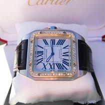 Cartier Santos 100XL Gold Steel Diamonds 52 x 40 mm  (Full Set)