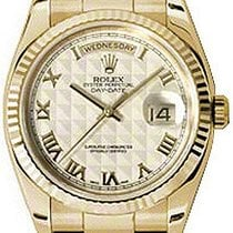 Rolex Day-Date 36 118238-IVPRFO Ivory Roman Pyramid Fluted...