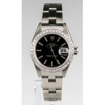 Rolex Stainless Steel Women's OPD Black Dial Diamond Bezel