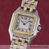 Cartier Lady Panthere Gold / Stahl Damenuhr Karrée Designklass...