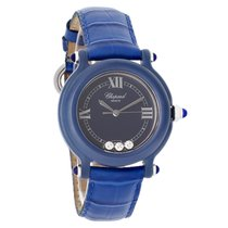 Chopard Be Happy Ladies 3 Floating Diamond Blue Strap Swiss...
