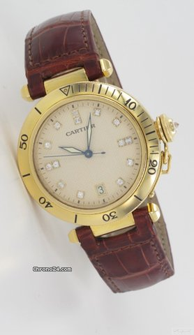 Cartier Pasha 38 in Gelbgold mit Diamantzifferblatt Box &amp;amp; Papiere
