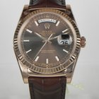 Rolex DAY DATE ROSE GOLD LEATHER CHOCOLATE DIAL