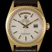 Rolex 18k Y/Gold O/P White Baton Dial Vintage Day-Date B&P...