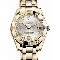 Rolex Pearlmaster 34 81318 Silver Roman Yellow Gold Bezel Set...