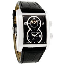 Raymond Weil Mens Don Giovanni Black Leather Band Watch...