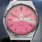 Seiko 5 Mens Automatic Watch With Beautiful Pink Dial 1970s...