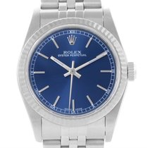 Rolex Datejust Midsize Steel 18k White Gold Blue Dial Watch 77014