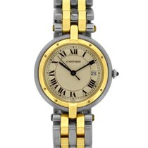 Cartier stainless steel and 18k yellow gold ladies round Santos