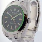 Rolex Milgauss Green Crystal Steel Mens Automatic Watch 116400