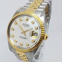 Rolex DateJust Custom Diamond MOP Dial 18K Gold Steel 34mm Watch
