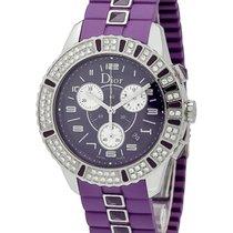 Dior Christal Stainless Steel Diamond Chronograph Ladies Watch...