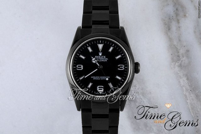 Rolex Black Coated DLC/PVD Black Dial Explorer I