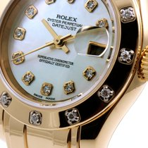 Rolex 18K YG Ladies 29mm Pearlmaster MOP Dial 12 Stone Bezel