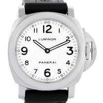 Panerai Luminor Base 44mm White Dial Steel Mens Watch Pam114...