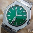 Bulova N6 Rare Mens Day Date Green Dial Automatic Vintage...