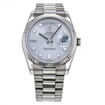 Rolex Day-date White Gold Automatic Silver Diamond Dial...