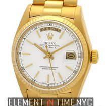 Rolex Day-Date President 18k Yellow Gold White Stick Dial...