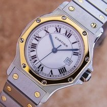 Cartier Santos Luxury Mid Size Ladies Swiss Auto 18k And...