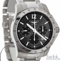 Longines Conquest Sport Black Dial Chronograph Watch Steel...
