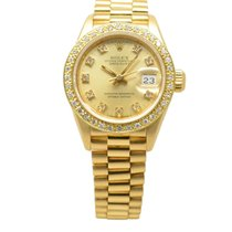 Rolex DateJust 18ct Gold 26mm Gilt Diamond-Set Dial &...