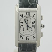 Cartier 18k White Gold Tank Americaine Chronoflex W2603356