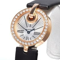 Cartier Captive Silver Dial Brown Satin Strap Diamond Ladies...