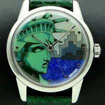 """Omega stainless Steel, Cloisonné Enamel Dial """" Statue of..."""