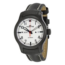 Fortis F-43 Stealth Automatic White Dial Black Leather Mens...