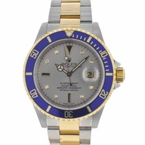 Rolex 16613 Submariner Two Tone Serti Dial Watch