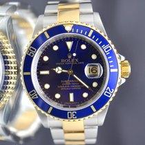 Rolex Submariner Blue  - 16613 Gold & Steel- No Holes Case...