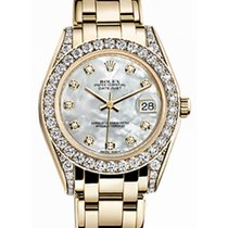 Rolex Pearlmaster 34 81158 White Mother of Pearl Diamond Set...