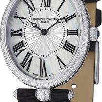 Frederique Constant Art Deco Diamonds Black Leather Strap...