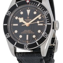 Tudor Heritage Black Bay 41MM Aged Black Leather Strap Men...