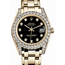 Rolex Pearlmaster 34 81158 Black Diamond Set Yellow Gold