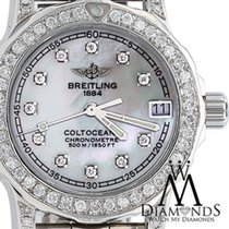Breitling Womens Diamond Breitling Colt 33mm White Mop Dial...